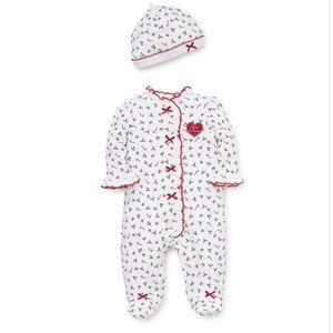 NWT Little Me Christmas Candy Cane Footie (3 mo)